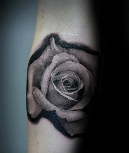 Small Simple Realistic Rose Guys Shaded Forearm Tattoos