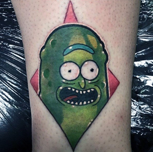 Small Simple Rick And Motry Mens Pickle Rick Tattoos