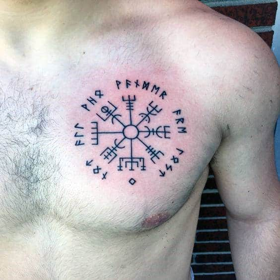 Small Simple Rune Black Ink Guys Chest Tattoos