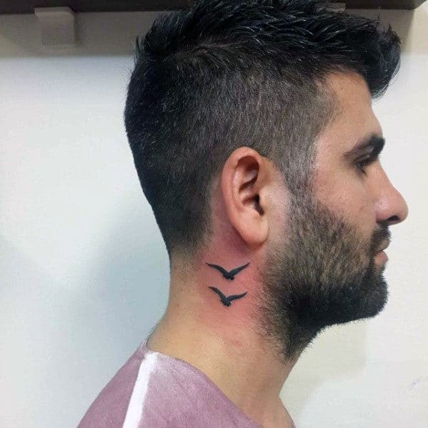 Small Simple Seagull Mens Neck Tattoos