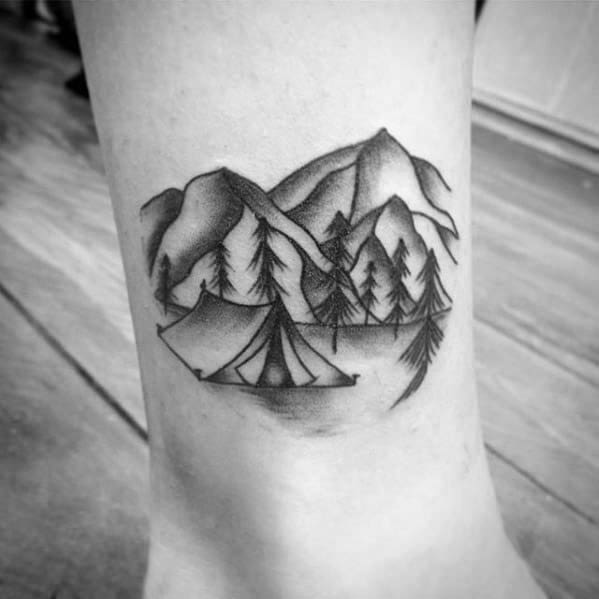 Small Grey Tattoo: 60 Camping Tattoos For Men