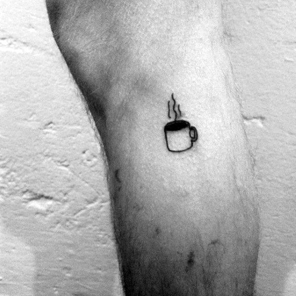 Small Simple Side Of Leg Coffee Male Tattoos