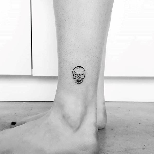 Small Simple Skull Male Side Of Lower Leg Tattoo Ideas