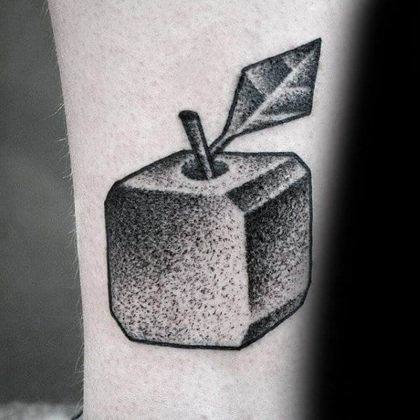 Small Simple Square Cube Apple Mens Dotwork Tattoo