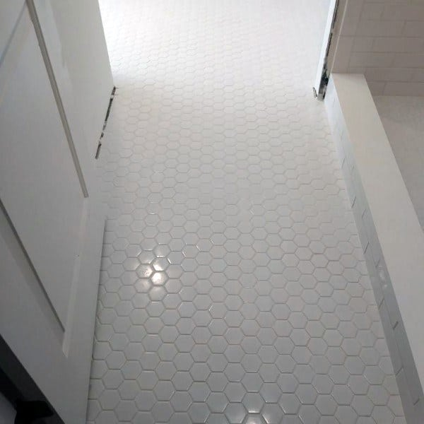 Small Simple Tiles White Bathroom Floor Hexagon Design