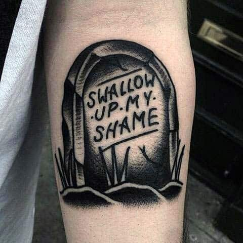 Small Simple Tombstone With Swallow Up My Shame Tattoo On Man