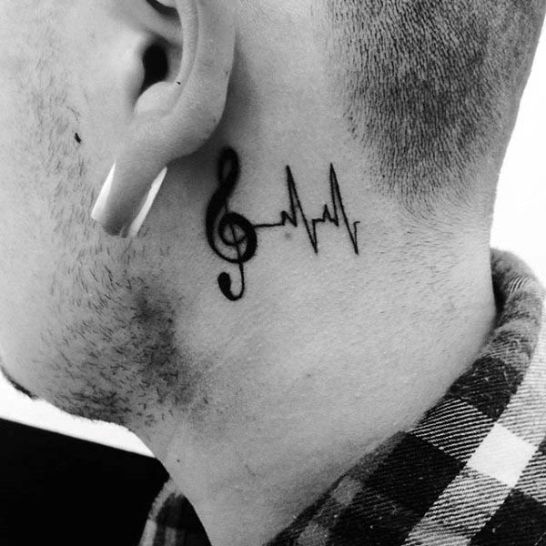 Small Simple Treble Clef Behind The Ear Tattoos For Males