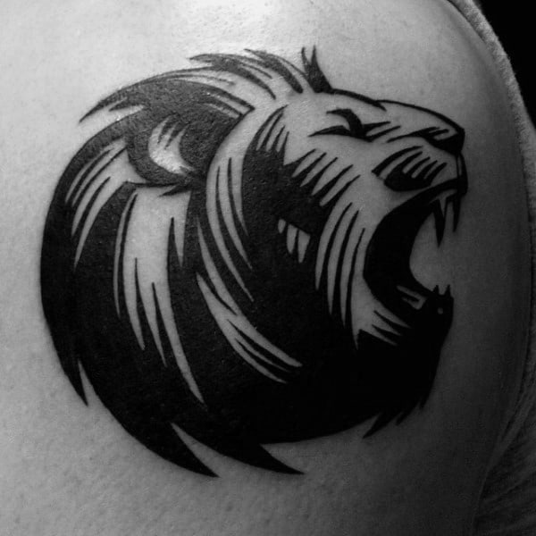 Small Simple Tribal Lion Male Arm Tattoo Inspiration