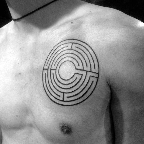 Small Simple Upper Chest Maze Mens Tattoos