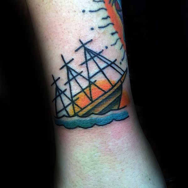 Small Simple Wrist Guys Sinking Ship Tattoos