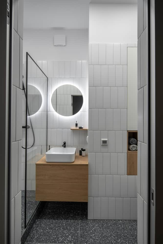 scandinavian basement bathroom