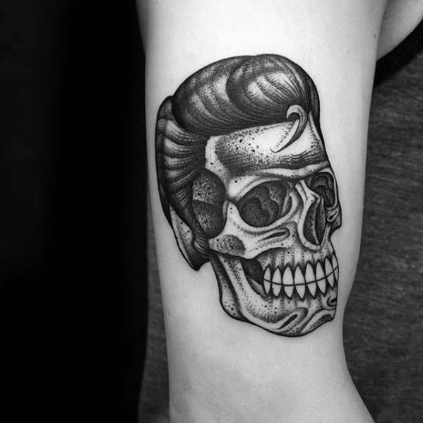 Small Skull Elvis Presley Tattoos For Gentlemen