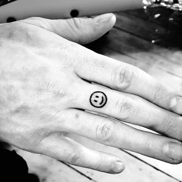Small Smilie Face Hand Tattoos For Gentlemen