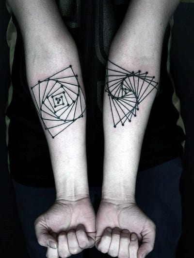 Small Spiral Line Tattoos For Men On Forearms