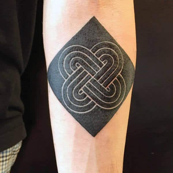 Small Square Pattern Mens Black Ink Negative Space Tattoo Inspiration