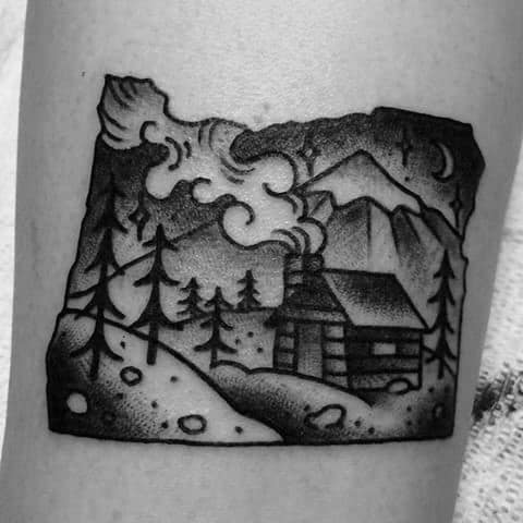 Small State With Traditional Cabin Mens Arm Tattoo