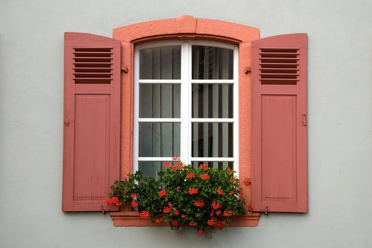 Small Stucco Exterior Window Trim With Wooded Shutter