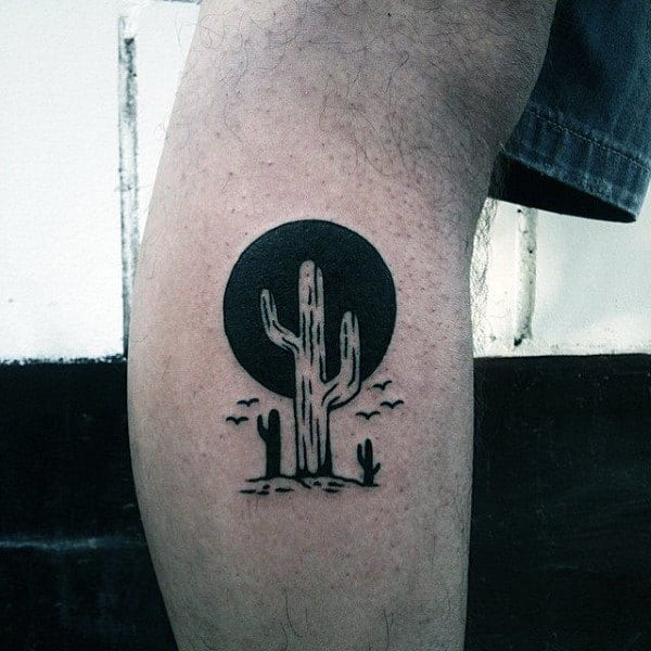 Small Sun Tattoos For Guys With Cactus Design On Leg