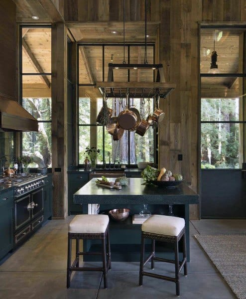 Small Tall Ceilings Wood Walls Rustic Kitchen Ideas