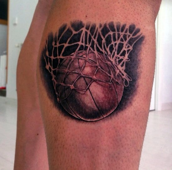 Small Tattoos Of Basketball Nets For Guys