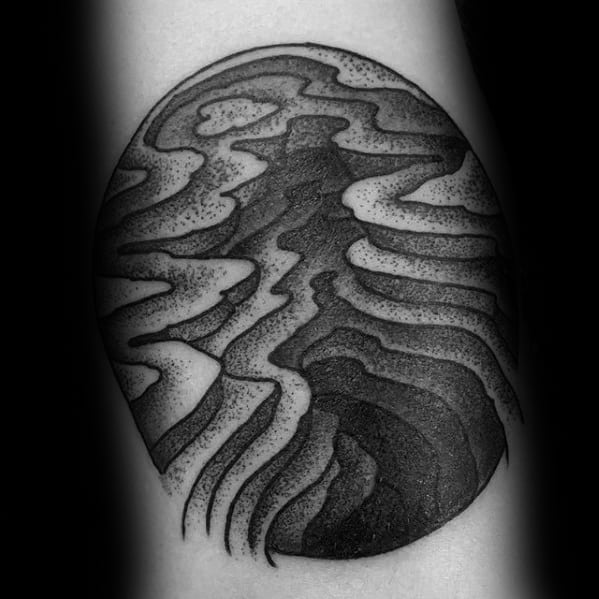 Small Terrain Landscape Guys Unique Forearm Tattoo Designs
