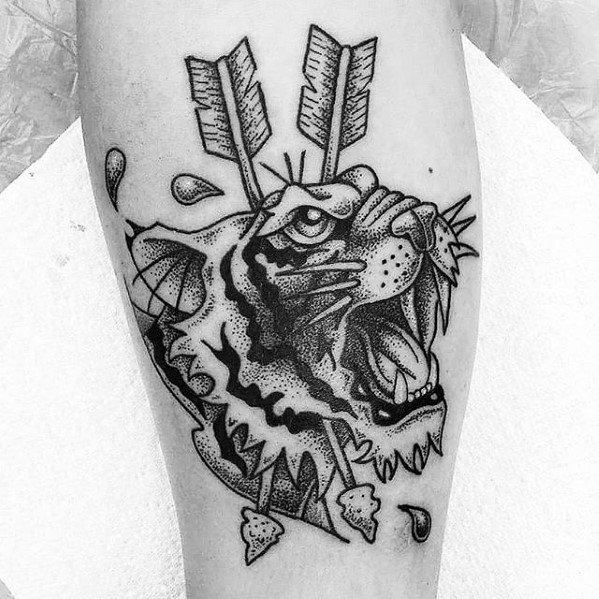 Small Tiger Head Arrow Guys Tattoo Ideas On Leg