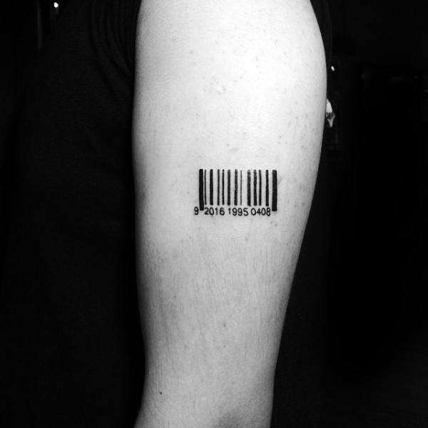 Small Tiny Barcode Mens Arm Tattoo