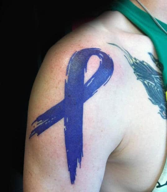 Small Tiny Cancer Ribbon Wrist Tattoos For Men