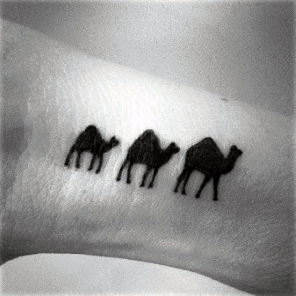 Small Tiny Mens Camel Tattoo On Wrist