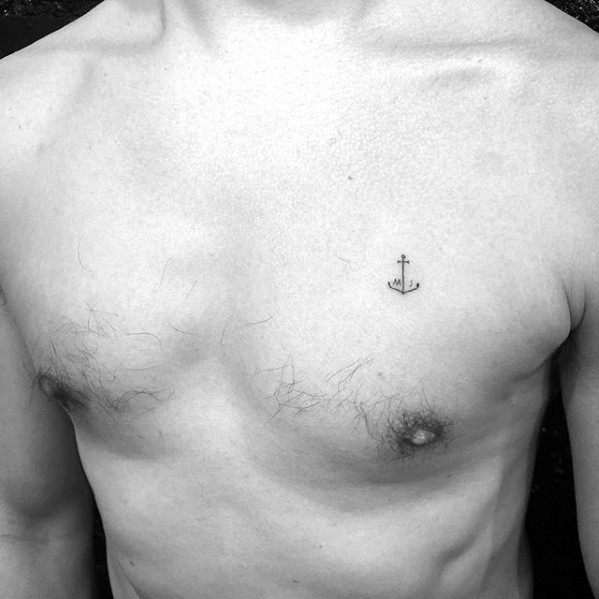 Small Tiny Mens Simple Unique Anchor Upper Chest Tattoo Deisgns
