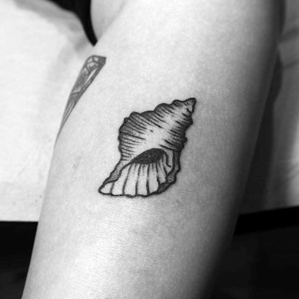 Small Tiny Seashell Simple Tattoo For Men On Arm