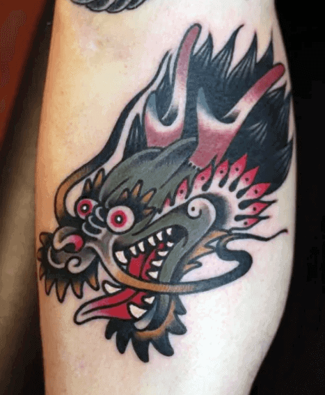 Small Traditional Dragon Mens Leg Tattoo