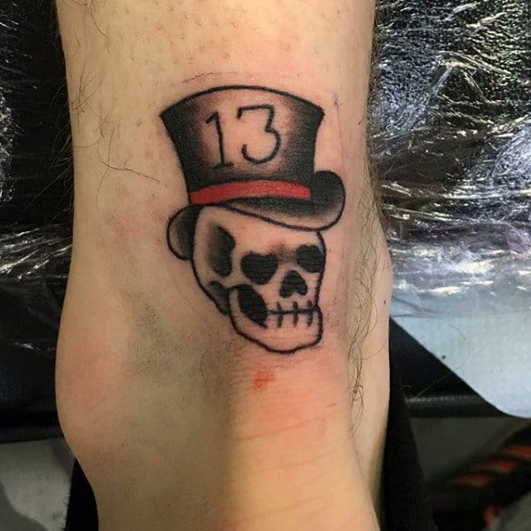 Small Traditional Lower Leg Skull With Top Hat Guys Tattoos