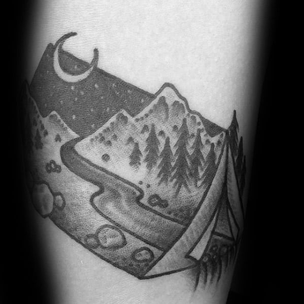 Small Traditional Mens Camping Tattoo Ideas On Forearm