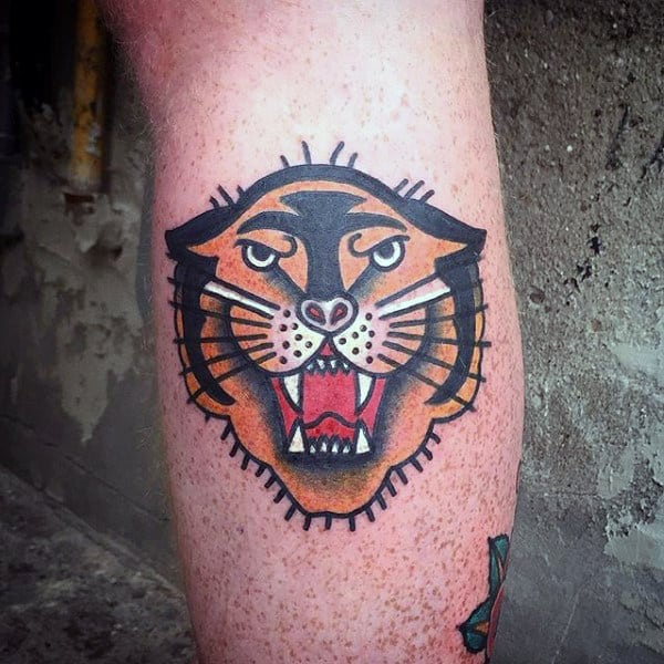 Small Traditional Mens Tiger Leg Calf Tattoo Deisgn