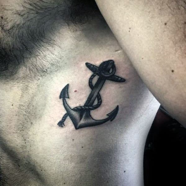 Small Traditional Shaded Anchor Male Chest Tattoos