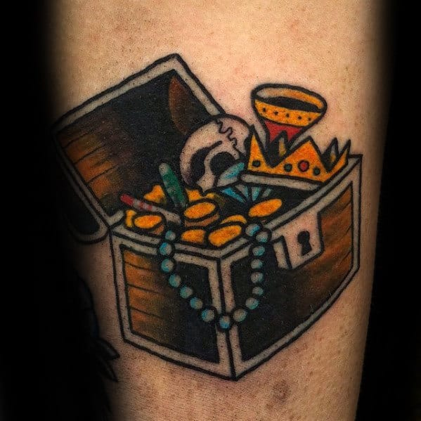 Small Treasure Chest Mens Old School Tattoo Ideas On Arm