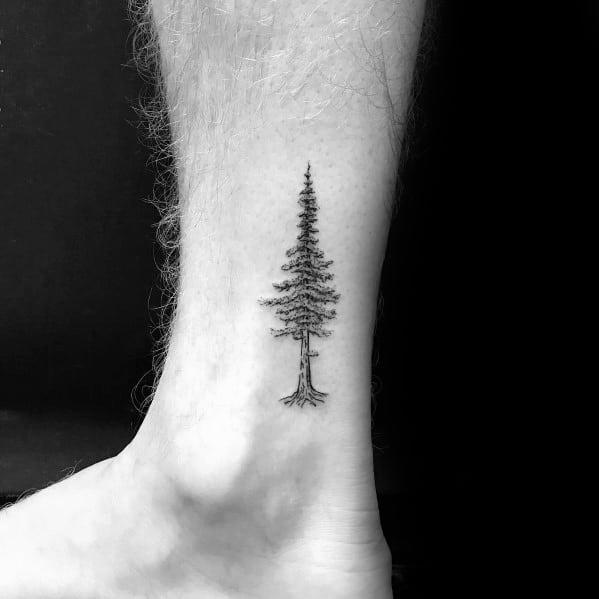 Small Tree Lower Leg Tattoo Design Ideas For Men
