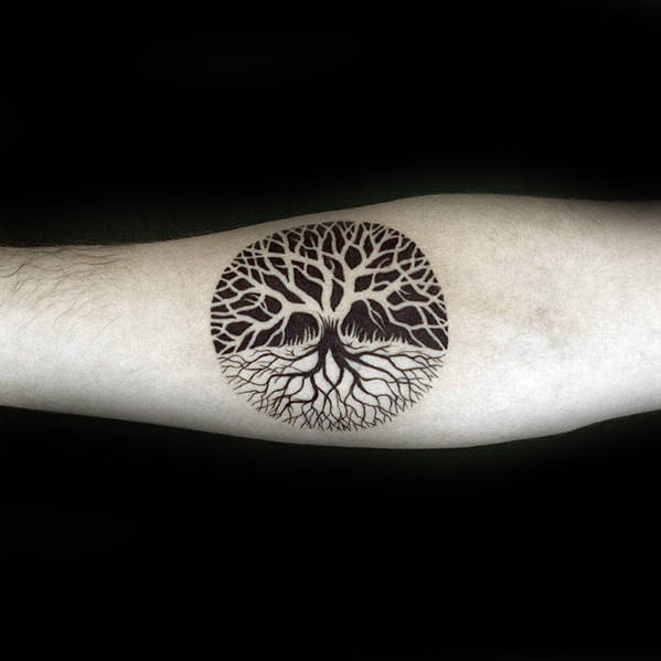 Small Tree Of Life Mens Negative Space Inner Forearm Tattoo