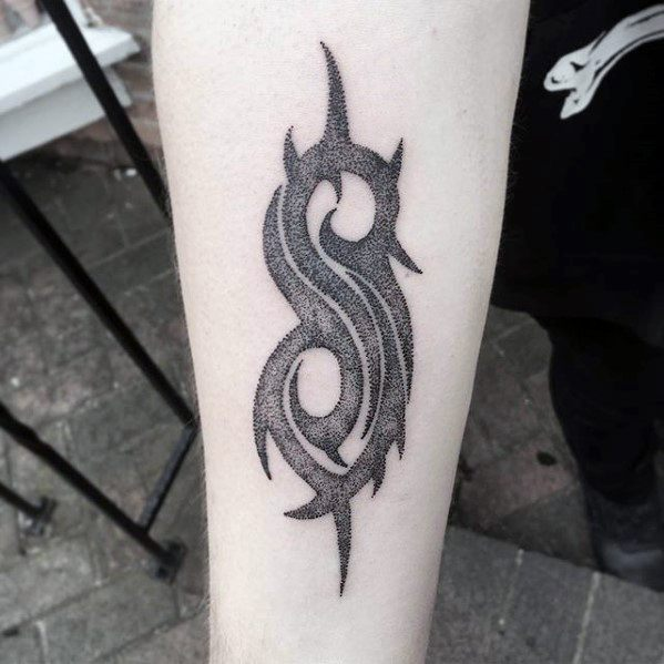 Small Tribal Inner Forearm Male Cool Slipknot Tattoo Ideas