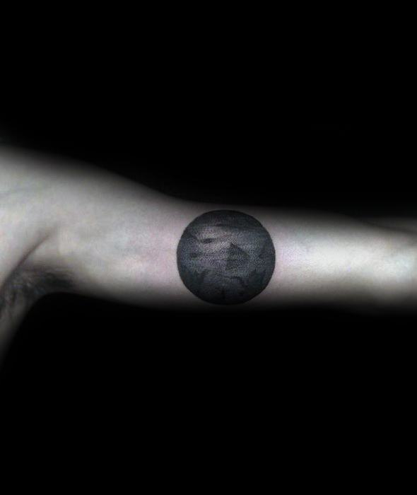 Small Unique Moon Guys Inner Arm Bicep Tattoo Designs