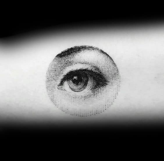 Small Unique Realistic Circle Eye Mens Arm Tattoos