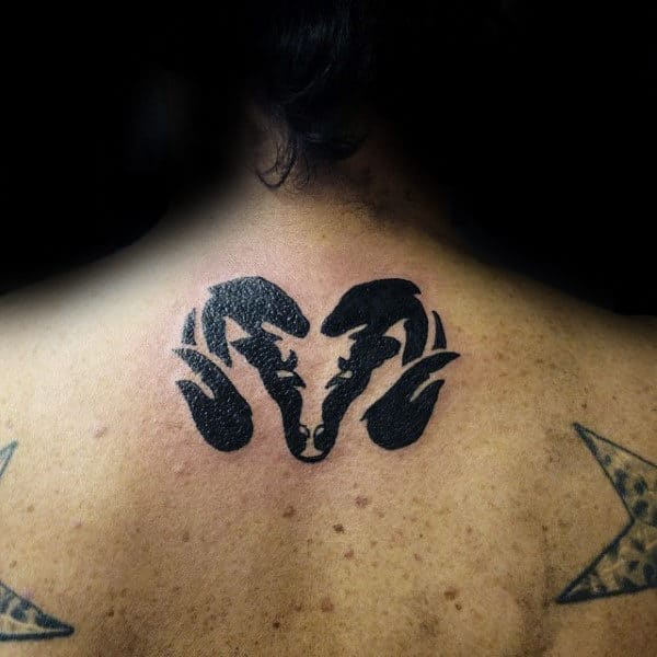 Small Upper Back Mens Black Ink Ram Tattoo