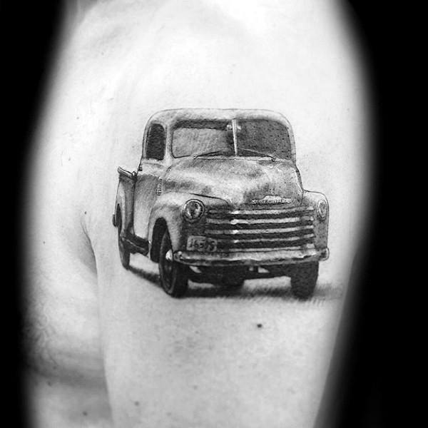 Small Vintage Male Upper Arm Truck Tattoos