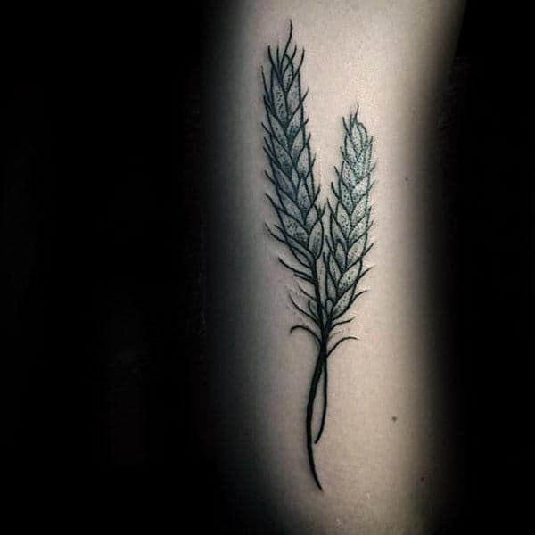 Small Virgo Wheat Mens Arm Tattoo Inspiration