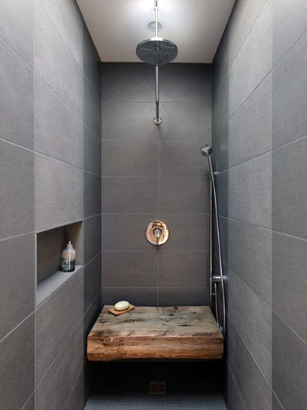 Small Wall Shower Niche Grey Bathroom Ideas