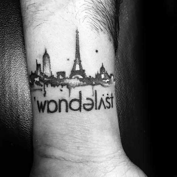 Small Wanderlust City Skyline Mens Wrist Tattoo Ideas