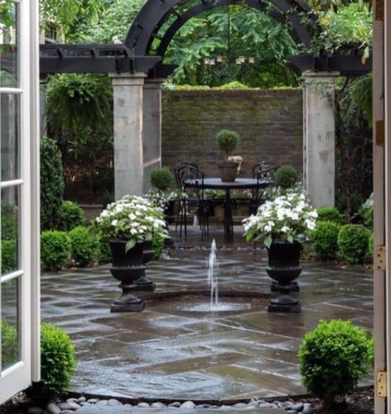 Small Water Fountain Backyard Ideas Flagstone Patio