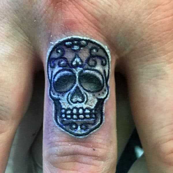 Small White And Black Ink Sugar Skull Finger Male Tattoo