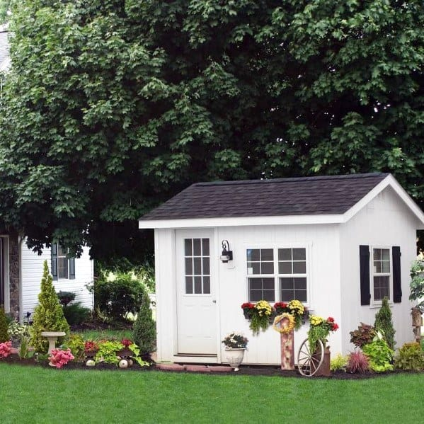 Small White Backyard Shed With Windows